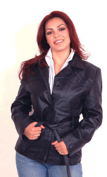 A11 Ladies Leather Belted Jacket