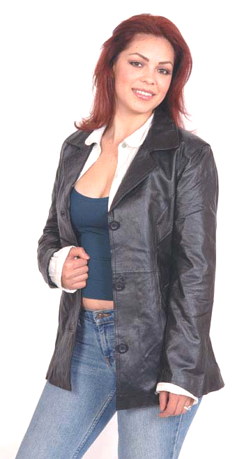 A8 Ladies Leather Blazer with Princess Curved Panel and 3 Buttons