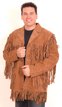 F200 Mens Suede Jacket with Fringe