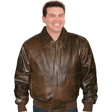 A22443 Antique Brown Mens Leather Aviation Bomber Jacket | Leather.com