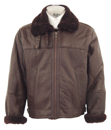 B3 Real Brown Shearling Leather Bomber Military Jacket