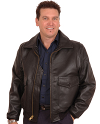 G1 Navy Cowhide Military Bomber Jacket Plain Leather Collar