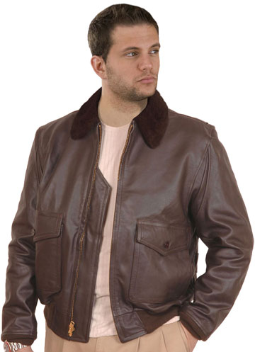 G1 Navy Military Cowhide Leather Bomber Jacket with Fur Collar