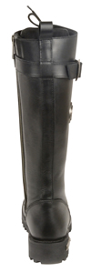 WB9355 Ladies Milwaukee Leather 14 inch Boots with Laces, Calf Buckle and Zipper Back View