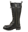 WB9355 Ladies Milwaukee Leather 14 inch Boots with Laces, Calf Buckle and Zipper Zipper View