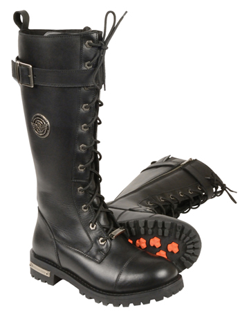 WB9355 Ladies Milwaukee Leather 14 inch Boots with Laces, Calf Buckle and Zipper Large View