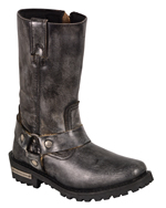 WB9362 Ladies Milwaukee Distress Grey Leather 11 inch Harness Boots with Cap Toe Finish and Side Zipper Angle View