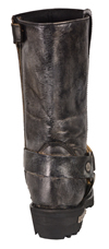 WB9362 Ladies Milwaukee Distress Grey Leather 11 inch Harness Boots with Cap Toe Finish and Side Zipper Back View