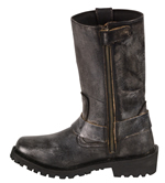 WB9362 Ladies Milwaukee Distress Grey Leather 11 inch Harness Boots with Cap Toe Finish and Side Zipper Inner Side View