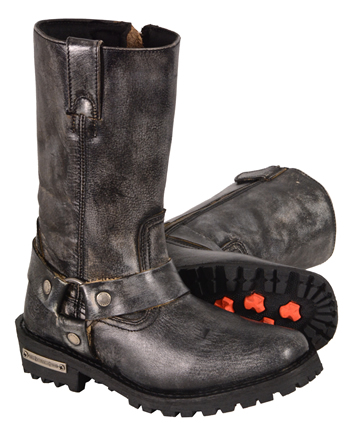 WB9362 Ladies Milwaukee Distress Grey Leather 11 inch Harness Boots with Cap Toe Finish and Side Zipper Larger View