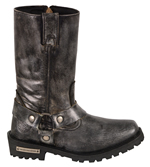 WB9362 Ladies Milwaukee Distress Grey Leather 11 inch Harness Boots with Cap Toe Finish and Side Zipper Outer Side View