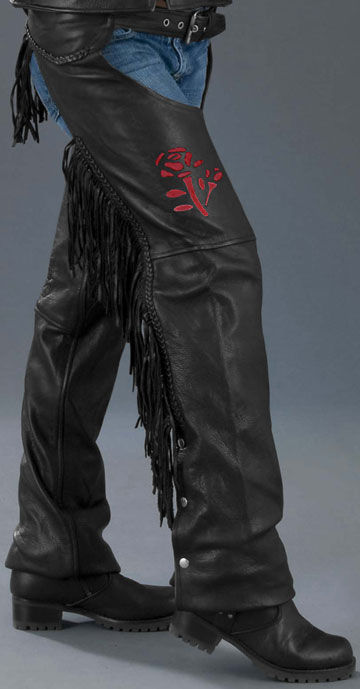 Red Rose Ladies Leather Chaps With Fringe Amp Braid