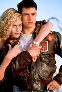 Tom Cruise from the Movie Top Gun wearing a G1 Bomber leather jacket