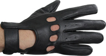 Leather Driving Gloves with Knucle Holes
