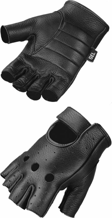 glove-850 deerskin fingerless glove with gel padding