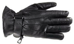 mens leather glove with strap