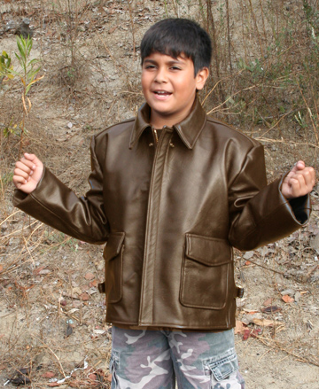 Kids Indy Bomber Leather Jacket