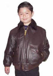 Kids A2 Air Force Leather Bomber Waist Jacket Made in the USA