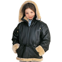 K103 Girls Leather Coat with Beige Fur and Hood