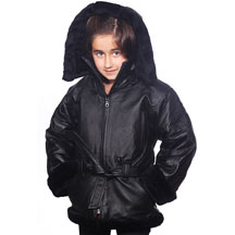 K103 Girls Leather Coat with Black Fur and Hood