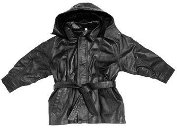 K10 Kids Long Leather Coat Parka Style with Removable Hood and Belt
