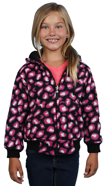 K1177 Reversible Girls Polyfleece Hoodie with Solid Black and Pink Big Cat Spot Pattern