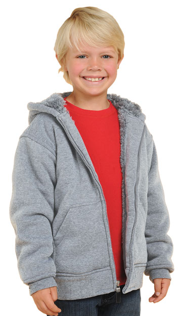 K1179 Boys and Girls Gray Fleece & Inner Sherpa Fur