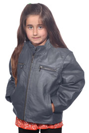K518 Boys Gray Waist Jacket with Kosack Knit Collar and Epaulets