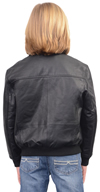 K1930 Kids Leather Jomber Jacket with Knit Cuffs and Waist Back View