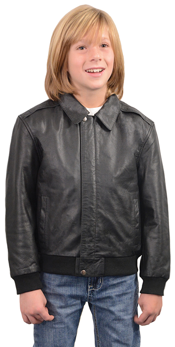 K1930 Kids Leather Bomber Jacket with Knit Cuffs and Waist