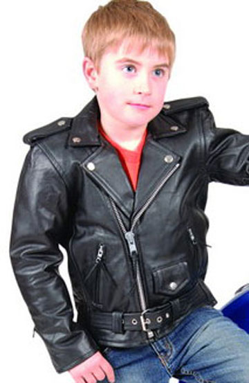 K1-LAMB Kids Lambskin Leather Classic Motorcycle Jacket with Half Belt