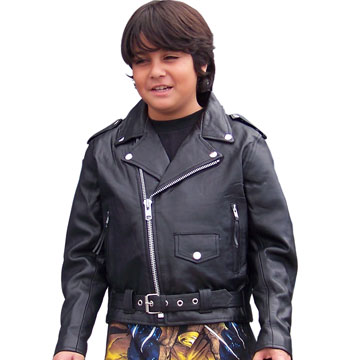 3c11a8fe4 K1910 Kids Top Grain Cowhide Leather Biker Jacket with Half Belt ...