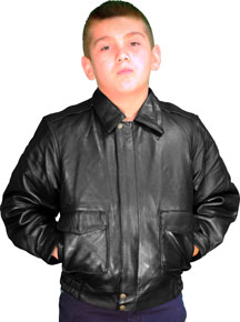K2810 Imported Kids A2 Air Force Leather Bomber Waist Jacket