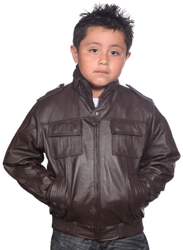 K518 Boys Brown Waist Jacket with Kosack Knit Collar and Epaulets Large View