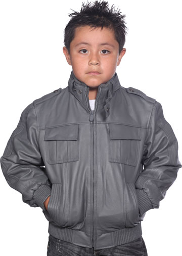 K518 Boys Gray Waist Jacket with Kosack Knit Collar and Epaulets Large View