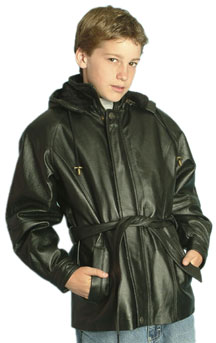 K12 Kids Long Leather Carcoat with Belt and Hood