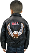 K-Eagle Kids Patchwork Leather Waist Jacket with Eagle Emblem Back View