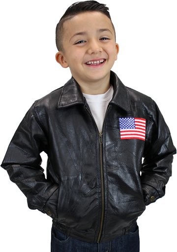 K-Eagle Kids Patchwork Leather Waist Jacket with Eagle Emblem