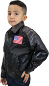 K-Eagle Kids Patchwork Leather Waist Jacket with Eagle Emblem Side View