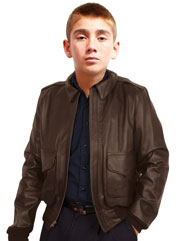 Kids Brown A2 Air Force Leather Bomber Jacket Made in the USA