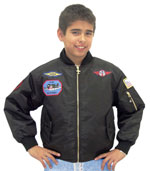 KMA1 Kids Nylon Aviation Jacket with Patches available in Black and Sage Green
