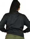 Ladies MA1 Nylon Bomber Jacket Front Pockets Back View
