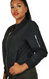 Ladies MA1 Nylon Bomber Jacket Front Pockets Side View