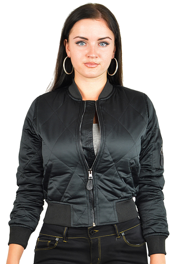 Ladies MA1Q Black Nylon Military Pilot Specs Quilted Bomber Jacket