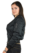 Ladies MA1Q Black Nylon Military Pilot Specs Quilted Bomber Jacket Side View