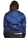 Ladies MA1Q Blue Nylon Military Pilot Specs Quilted Bomber Jacket Back View