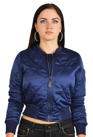 Ladies MA1Q Blue Nylon Military Pilot Specs Quilted Bomber Jacket