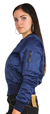 Ladies MA1Q Blue Nylon Military Pilot Specs Quilted Bomber Jacket Side View