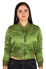 Ladies MA1Q Green Quilted Nylon Military Pilot Specs Aviation Bomber Jacket