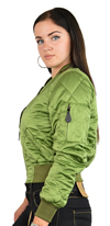 Ladies MA1Q Green Nylon Military Pilot Specs Quilted Bomber Jacket Side View